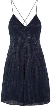 Alice + Olivia Alice Olivia - Alves Beaded Georgette Mini Dress - Royal blue