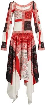 Alexander McQueen Scoop-neck cross-stitch print crepe de Chine dress