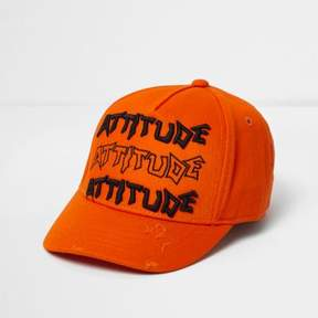 River Island Mini boys orange 'attitude' baseball cap