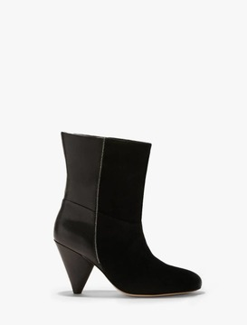 Halston Molly Leather Suede Combined Boots With Chain Piping