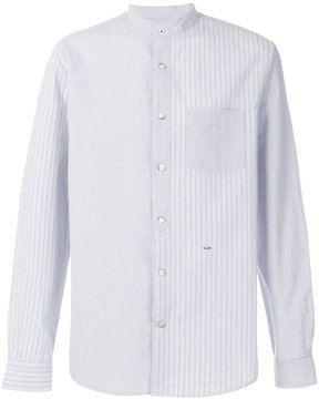 Closed striped band collar shirt