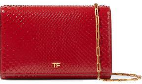 Tom Ford Leather-trimmed Python Shoulder Bag - Red