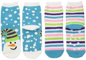 Jefferies Socks Snowman Fuzzy Slipper Socks 2-Pack Girls Shoes