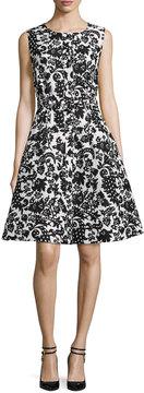 Oscar de la Renta Sleeveless Silk Jacquard Dress, White/Black
