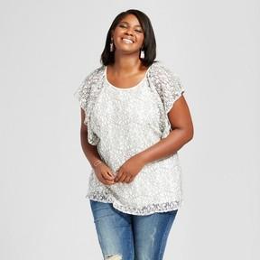 Ava & Viv Women's Plus Size Lace Flutter Sleeve Top Cream