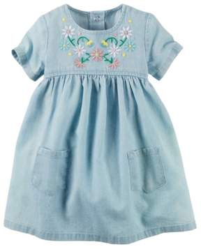 Carter's Baby Clothing Outfit Girls Floral Embroidered Chambray Dress NB