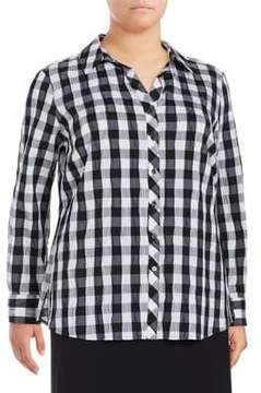 Foxcroft Plus Checkered Button-Down Shirt