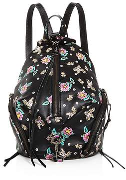 Rebecca Minkoff Julian Floral Medium Leather Backpack - 100% Exclusive - BLACK MULTI/GUNMETAL - STYLE