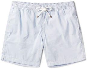 Hartford Slim-Fit Striped Seersucker Mid-Length Swim Shorts