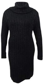 Tommy Hilfiger Women's Georgina Cowl-Neck Sweater Dress (XXL, Black)
