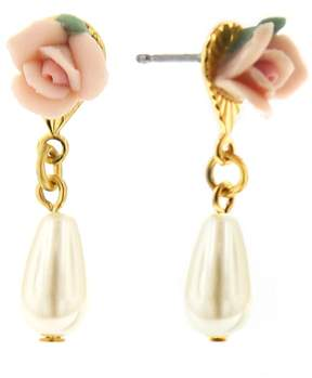 1928 Gold Tone Floral Simulated Pearl Drop Earrings