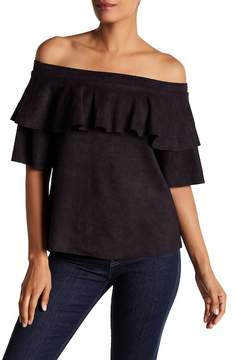 David Lerner Micro Suede Off-the-Shoulder Ruffle Top