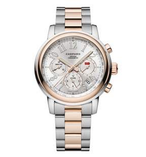 Chopard Mille Miglia Chronograph Silver Dial 18 Carat Rose Gold Automatic Men's Watch