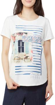 Allison Daley Embellished Detail Photo Print Crew Neck Tee