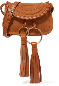 See by Chloé - Polly Mini Leather-trimmed Tasseled Suede Shoulder Bag - Tan
