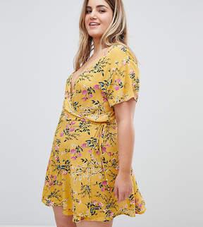 Brave Soul Plus Belle Floral Print Wrap Dress
