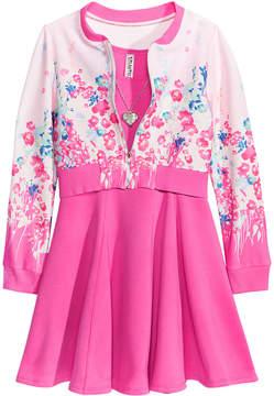 Beautees 2-Pc. Bomber Jacket & Dress Set, Big Girls