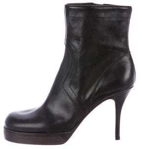 Rick Owens Leather Round-Toe Ankle Boots