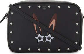 MCM Ladies Black Embossed Iconic Star Eyed Bunny Leather Cross-Body Bag
