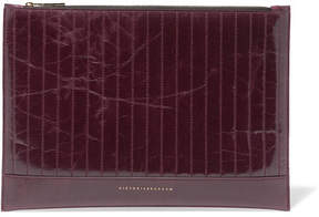 Victoria Beckham Quilted Glossed Textured-leather Pouch - Burgundy