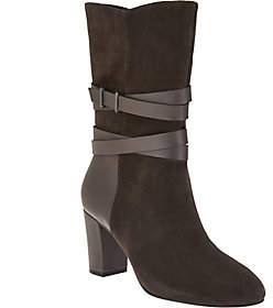 Halston H by HbyHalston Suede Mid-Calf Boots w/ LeatherStrapDetail-Quinn