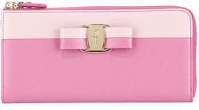 Salvatore Ferragamo Two-Tone Saffiano Clutch Wallet, Pink