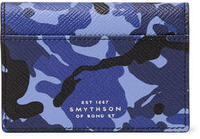 Smythson Panama Camouflage-Print Cross-Grain Leather Bifold Cardholder