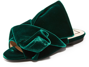 No.21 No. 21 Flat Slides with Bow in Velvet