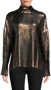 Tibi Women's Sequin Mock Neck Top