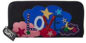 Saint Laurent Love Leather Zip Around Wallet. - BLACK - STYLE