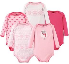 Hudson Baby Girl Long Sleeve Bodysuit, 5-Pack