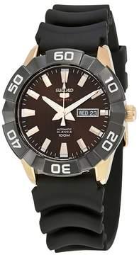 Seiko 5 Orange Dial Black Silicone Men's Watch