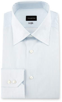 Ermenegildo Zegna 100Fili Fine-Stripe Dress Shirt, White/Light Blue