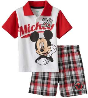 Disney Disney's Mickey Mouse Baby Boy Graphic Polo & Plaid Shorts Set