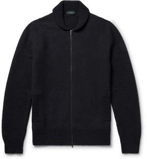 Incotex Shawl-Collar Virgin Wool-Blend Zip-Up Cardigan