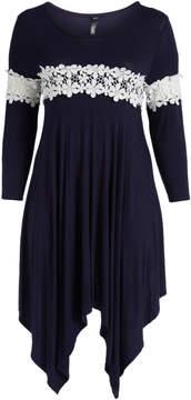 Celeste Navy Lace-Trim Sidetail Dress - Plus