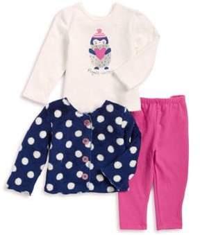 Absorba Baby Girl's Three-Piece Penguin Sweetness Cardigan, Top & Leggings Set