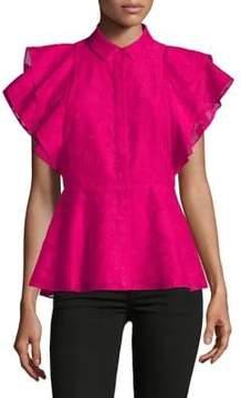 Isaac Mizrahi IMNYC Button Up Ruffle Sleeve Peplum Top