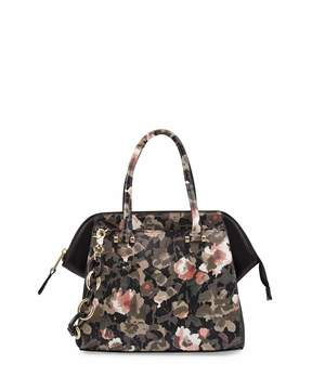 French Connection Devin Floral Camouflage Satchel Bag, Green/Multi