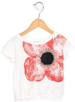 Junior Gaultier Girls' Floral Print Glitter-Accented Top w/ Tags