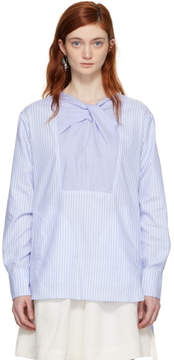 Carven Blue and White Striped Blouse