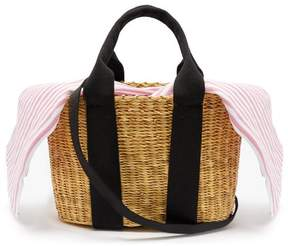 Muun Caba Mini Canvas And Woven Straw Bag - Womens - Pink Stripe