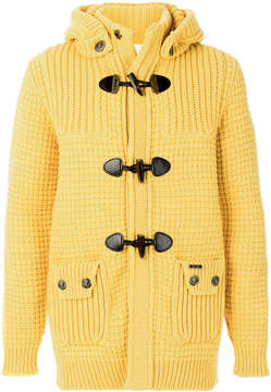 Bark detachable hood knitted jacket