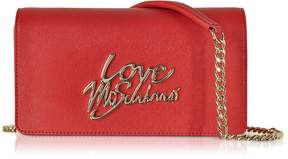 Love Moschino Red Saffiano Eco-Leather Clutch w/Foulard