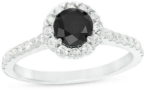Zales 1-1/6 CT. T.W. Enhanced Black and White Diamond Frame Engagement Ring in 14K White Gold