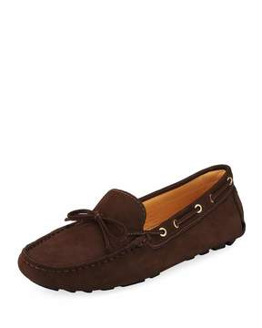 Neiman Marcus Alana Leather Flat Driver, Brown