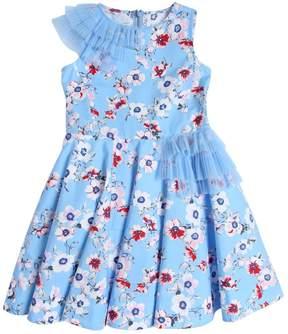 Simonetta Floral Print Cotton Satin Party Dress