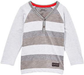 DKNY Heather Light Stripe Raglan Henley - Toddler & Boys