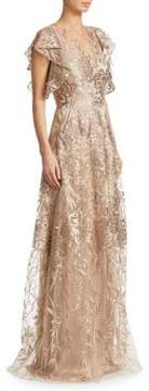 David Meister Floral Floor-Length Gown