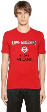 Love Moschino Stretch Cotton Jersey T-Shirt W/ Patches
